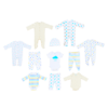 An 11 piece pack of essential blue baby clothes, exclusive to Numidan