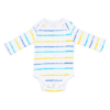 A long sleeve one piece with blue, turquoise and yellow stripes