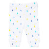 An open feet pant with a blue. turquoise and yellow raindrop design