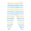 A closed feet pant with blue, turquoise and yellow stripes
